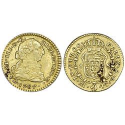Bogota, Colombia, gold bust 1 escudo, Charles III, 1787JJ, rare.