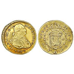 Popayan, Colombia, gold bust 1 escudo, Charles IV, 1797JF.
