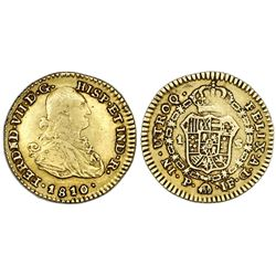 Popayan, Colombia, gold bust 1 escudo, Ferdinand VII (bust of Charles IV), 1810JF.