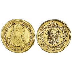 Popayan, Colombia, gold bust 1 escudo, Ferdinand VII (bust of Charles IV), 1812JF.