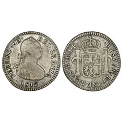 Bogota, Colombia, bust 1 real, Ferdinand VII (bust of Charles IV), 1812JF, doubled-die face.
