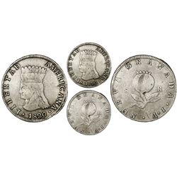 Bogota, Colombia, 8 reales, 1820/19JF,  Libertad Americana,  rare, PCGS VF30.