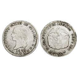 Popayan, Colombia, 5 decimos, 1870/69, rare, PCGS VF20.