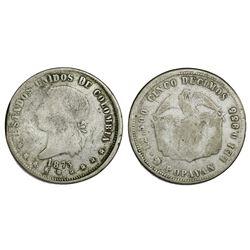 Popayan, Colombia, 5 decimos, 1873, fineness 0,835/0,900, rare, PCGS F12.