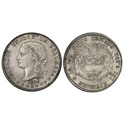 Medellin, Colombia, 5 decimos, 1886/4, fineness 0,500/0,835, large 6 in date, PCGS AU55, Restrepo Pl