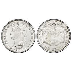 Medellin, Colombia, 5 decimos, 1886, fineness 0,500, very rare, PCGS XF45, Restrepo Plate Coin.