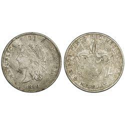 Medellin, Colombia, 5 decimos, 1888, elongated head, unique, PCGS VF25, Restrepo Plate Coin (stated