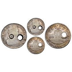 """Costa Rica, 8 reales, circular hole-punch and Carrillo """"star"""" countermark (Type I, 1841-42) on a Pot"""