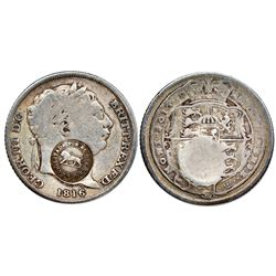 "Costa Rica, 1 real, ""lion"" countermark (Type VI, 1849-57) on a Great Britain sixpence, George III, 1"