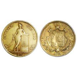 Costa Rica, gold 1/2 onza (4 escudos), 1850JB, PCGS XF45.