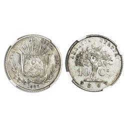 Costa Rica, 10 centavos, 1865GW, NGC AU 50.