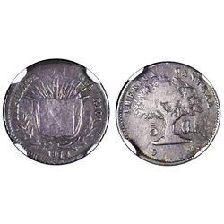 Costa Rica, 5 centavos, 1872GW, NGC F 15.