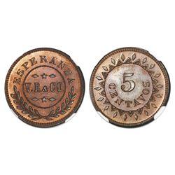 Oriente, Cuba, bronze 5 centavos token, no date (1868), Esperanza V.R. & Co., NGC MS 66 RB.