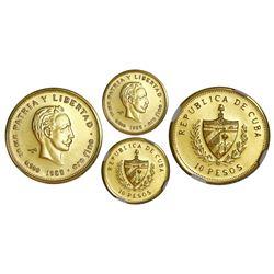 Cuba, gold PIEFORT 10 pesos, 1988, Marti, NGC MS 69, very rare, ex-Rudman.