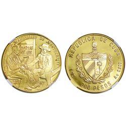 Cuba, gold proof 200 pesos, 1994, Montecristi Manifesto, NGC PF 68 Ultra Cameo, ex-Rudman.