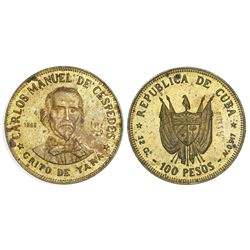 Cuba, off-metal pattern for gold 100 pesos in brass, 1977, Carlos Manuel de Cespedes, rare, ex-Rudma