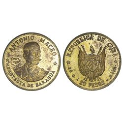 Cuba, off-metal pattern for silver 20 pesos in brass, 1977, Antonio Maceo, rare, ex-Rudman.