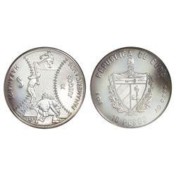 Cuba, silver proof PIEFORT 10 pesos, 1990, Eleventh Pan American Games (Havana, 1991) - Baseball, NG
