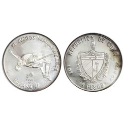 Cuba, silver proof PIEFORT 10 pesos, 1990, Eleventh Pan American Games (Havana, 1991) - High Jump, N