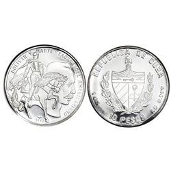 Cuba, silver proof PIEFORT 10 pesos, 1993, Bolivar and Marti, NGC PF 68 Ultra Cameo, ex-Rudman.