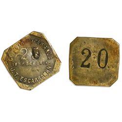 San Pedro de Macoris, Dominican Republic, brass 20 centavos token, no date (late 1800s), Colonia Esp