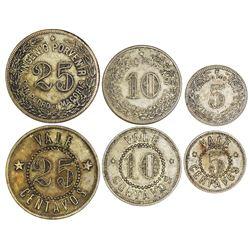 Set of three San Pedro de Macoris, Dominican Republic, brass tokens, no date (late 1800s), Yngenio P