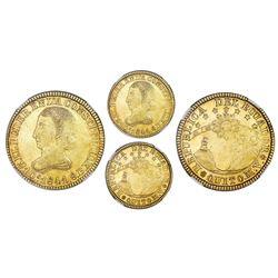 Quito, Ecuador, gold 8 escudos, 1841MV, small size, NGC XF 45.