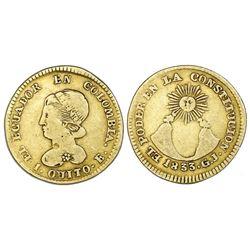Quito, Ecuador, gold 1 escudo, 1833GJ.