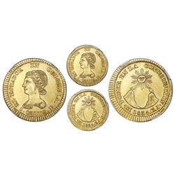 Quito, Ecuador, gold 1 escudo, 1834GJ, NGC MS 61, ex-Lissner.
