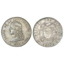 Quito, Ecuador, 5 francos, 1858GJ, NGC AU 53.
