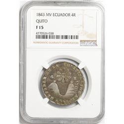 Quito, Ecuador, 4 reales, 1843MV, NGC F 15.