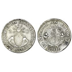 Quito, Ecuador, 2 reales, 1834GJ, NGC XF 40.