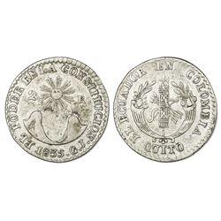 Quito, Ecuador, 2 reales, 1835GJ, NGC VF 30.