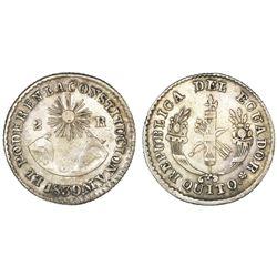 Quito, Ecuador, 2 reales, 1839MV, NGC VF 35.