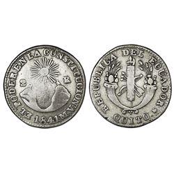 Quito, Ecuador, 2 reales, 1841MV, NGC F 15.