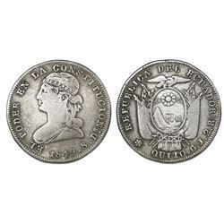 Quito, Ecuador, 2 reales, 1849GJ, NGC F 12.