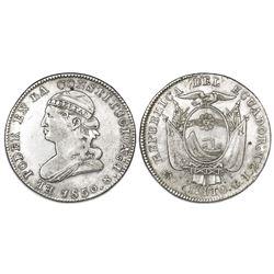 Quito, Ecuador, 2 reales, 1850GJ, NGC VF details / obv damage.