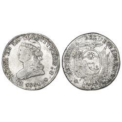 Quito, Ecuador, 2 reales, 1851GJ, NGC VF 20.