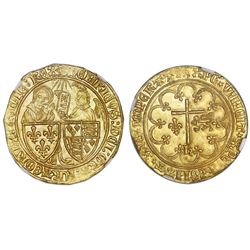 France (Rouen mint), gold salut d'or, Henry VI (1422-53), NGC MS 65.