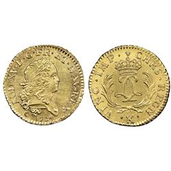 France (Bordeaux mint), gold louis d'or, Louis XV, 1724-K, NGC UNC details / saltwater damage.