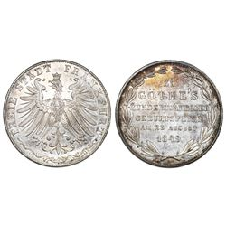 Frankfurt (German States), 2 gulden, 1849, Centennial of the Birth of Goethe.
