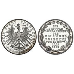 Frankfurt (German States), proof 2 gulden, 1855, 300th Year of Religious Peace.