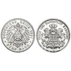 Hamburg, German Empire, 5 reichsmark, 1891-J.