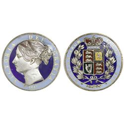 Great Britain (London, England), crown, Victoria (young head), 1847, both sides enameled (multi-colo