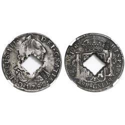 Guadeloupe (British occupation), 9 livres, crowned-G countermark and central crenated square hole (1