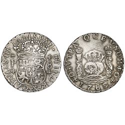 Guatemala, pillar 8 reales, Charles III, 1769P, inverted N's, rare.