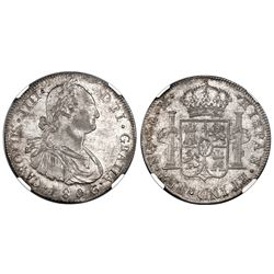 Guatemala, bust 8 reales, Charles IV, 1806/5M, NGC MS 63, finest known in NGC census.