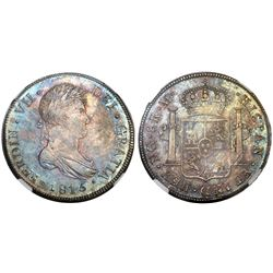 Guatemala, bust 8 reales, Ferdinand VII, 1815M, NGC MS 62, finest known in NGC census.
