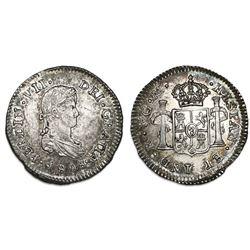 Guatemala, bust 1/2 real, Ferdinand VII (proper bust), 1808M.