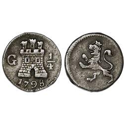 Guatemala, 1/4 real, Charles IV, 1798, ex-Reinhart.